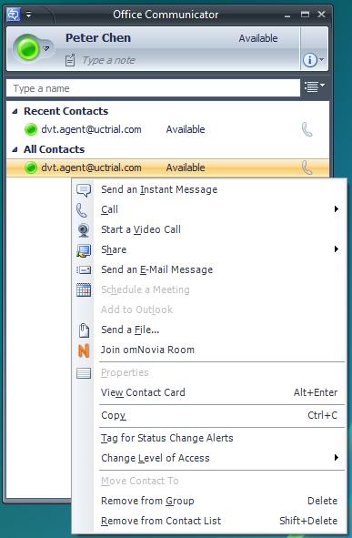 omNovia Integration for Microsoft Office Communicator